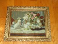 1904 H C Plumb Gray Litho Co CATS KITTENS ROSES Framed