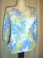 JAMAICA BAY White Blue Green Leaf Print V-Neck 3/4 Sleeve Knit Top Sz. M