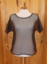 black mesh fishnet short sleeve t-shirt top tunic M 12-14 40-42 BNWOT Goth Emo