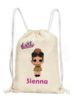 Personalised Girls LOL Dolls Cotton Canvas Drawstring Gym/ PE Bag- Boss Queen