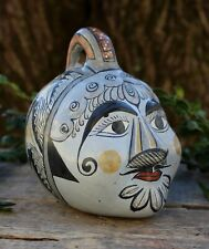 Med Old Style Face Bank Clay Handmade & Painted Tonalá Jalisco Mexican Folk Art