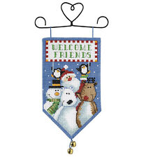 Cross Stitch Kit Dimensions Santa & Friends Holiday Mini Banner #8821 OOP SALE!
