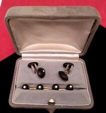 Trianon 14K Yellow Gold Diamond and Onyx Stud Cufflinks Set w/ Box Case