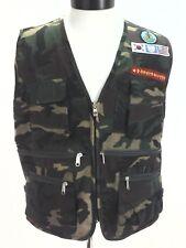 CAMO VEST Military Korean/American Flag/UN Emblem Sewn Patches Zip Up Men's XL