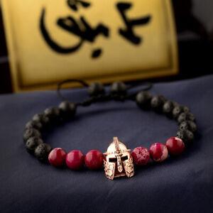 Rose Gold Helmet Spacer Red Turquoise Round Bead Bracelet Lava Oild Diffuser