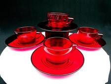 """PADEN CITY #991 PENNY LINE 4 RUBY RING DESIGN 2 1/8"""" CUP AND SAUCER SETS"""