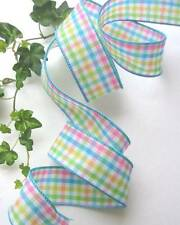 Spring Plaid Pink Blue Green Yellow 1 1/2 Inch Wired Edge Ribbon 5 Yards