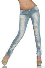 Women Jeans Skinny Straight Stretchable Ripped Jeans with Belts UK Size 10 EU 38