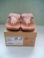 NEW Women Fitflop Rumba Toe-Thong Slip On Sandals Leather Dusty Pink SZ 11