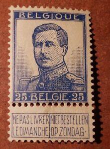 GM51 BELGIUM 1912. King Albert I. BLUE 25C MNH STAMP
