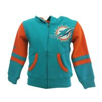 Miami Dolphins Official NFL Children Youth Kids Size Full Zip Sweatshirt New Tag