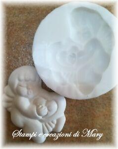 Stampo angelo con cuore in silicone per gessetti segnaposto,bomboniere 5x5 cm