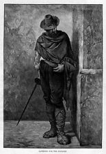 SPANISH MAN AND SWORD LISTENING FOR FOOTSTEP ANTIQUE VINTAGE ENGRAVING SWORD