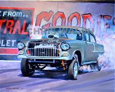 Drag Racing action prints...55 Chev Gasser smokin 'em at Fremont, CA