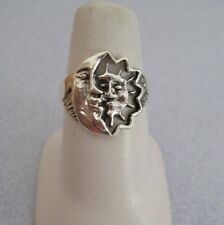 Mexican 925 Silver Taxco Oxidized Cut Out MOON SUN ECLIPSE Face Smile Ring  5.75