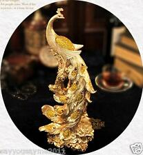 "42cm (16.5"") Gold resin Phoenix Bird Statue Sculpture Figurine Feng Shui"