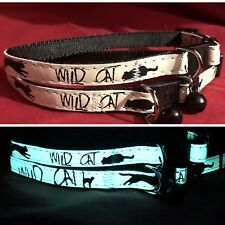 2 x Cat kitten Collar GLOWS IN THE DARK Safety Collar Quick Release & Bell