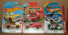 Three 1/64 Scale Rescue Vehicle Diecast Trucks - Hot Wheels MBX Emergency Fleet