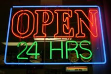 """Open 24 Hrs Hours Neon Light Sign 32""""x24"""" Lamp Poster Real Glass Beer Bar"""