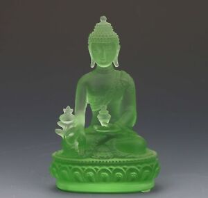 CollectiblesGreen coloured glass Figures pharmacists Buddha statues AP035