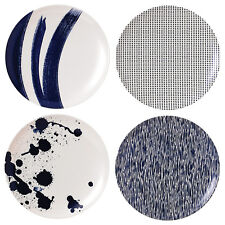 Royal Doulton Set of 4 Blue Porcelain Salad Plate Set, Dinner Plates, Tableware