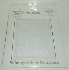NuLEG Shimmy Glitter Pantyhose  WHITE Sheer Size Queen New