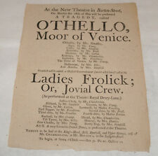ANTIQUE PLAY POSTER BROADSIDE PLAYBILL OTHELLO NEW THEATRE GLOUCESTER ENGLAND