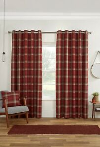 """Sundour """"Carnoustie"""" Blackout Woven Check Fully Lined Eyelet Curtains Red"""