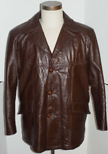 VINTAGE CLASSIC 1970s SEARS LEATHER JACKET! BUTTON FRONT! ZIP-OUT LINER USA 42S
