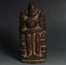 Worship Ethnic Folk culture Wooden Carved Marionette! Prayer Man Portrait
