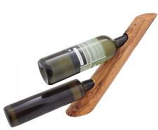 "Olive Wood, Wine Bottle Stand, Handmade Bottle Holder, 2 Sockets, 15.7"""