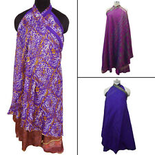 3 Pcs Pure Silk Reversible Magic Skirt Vintage Saree Wrap Around-WPL4A