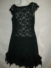 Ladies S / M Vintage 60's Sheer Lace Feather Frill Skirt Short Dress