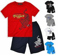 Boys Tiger Print Short Sleeved T Shirt And Shorts Set New Kids Age 2 4 6 8 Years