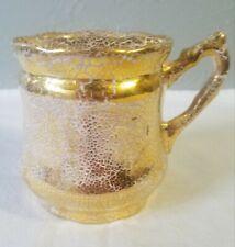 Vintage Gold Crackle Finish Ceramic Mustache Cup