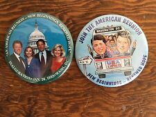Pair 1993 President Bill Clinton Inauguration Pins Button First Lady Hillary 3""