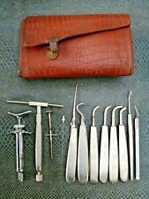 ancienne trousse en cuir nécessaire d'outils de dentiste 20 ème