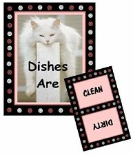 Cat Dishwasher Magnet (White - Sleeping on Post) - (Clean/Dirty) Ship Free!