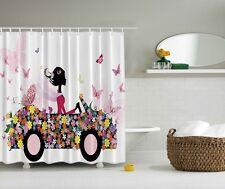 Spring Colorful Car Daisies Shower curtain Bright Butterflies Lady Bath Decor