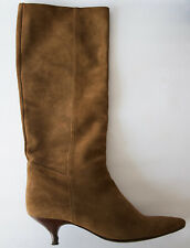 LK Bennett women brown real suede mid heel knee high boots size EU39 UK6