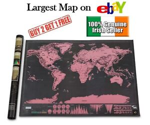XL LARGE SCRATCH OFF WORLD MAP PINK POSTER PERSONALIZED TRAVEL VACATION PERSONAL