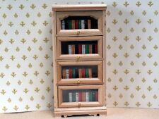 PINE COLOURED GLAZED BOOKCASE-DOLLSHOUSE MINIATURE