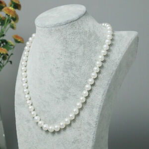 """Exquisite AAA 9-10mm natural akoya white round pearl necklace 14k gold 20"""""""