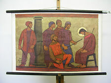 School Wall Map Bible History Patmos 18 CA 1965 the act of mockery 76x50cm Vinta...