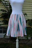 Decree Juniors Skirt Size XL Pink Green Blue Above Knee Stretch Waist C23
