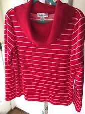 Judith Hart Velour Sweater Cowl Neck Stripe Red White Xl