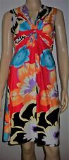 MAILLE DEMOISLLE Red Multi Colour Frloral Print Knot Front Party Dress Size S