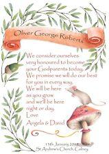 PERSONALISED Mouse Christening Godparents print gift keepsake Godson Goddaughter