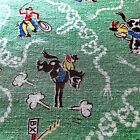 """1950s Vintage Cowboy Rodeo Western Fabric 36 x 56"""""""