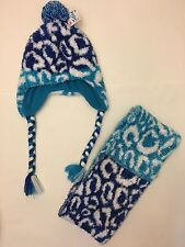 NWT JUSTICE GIRLS BLUE ANIMAL PRINT CHEETAH HAT & SCARF SET INFINITI SCARF POM P